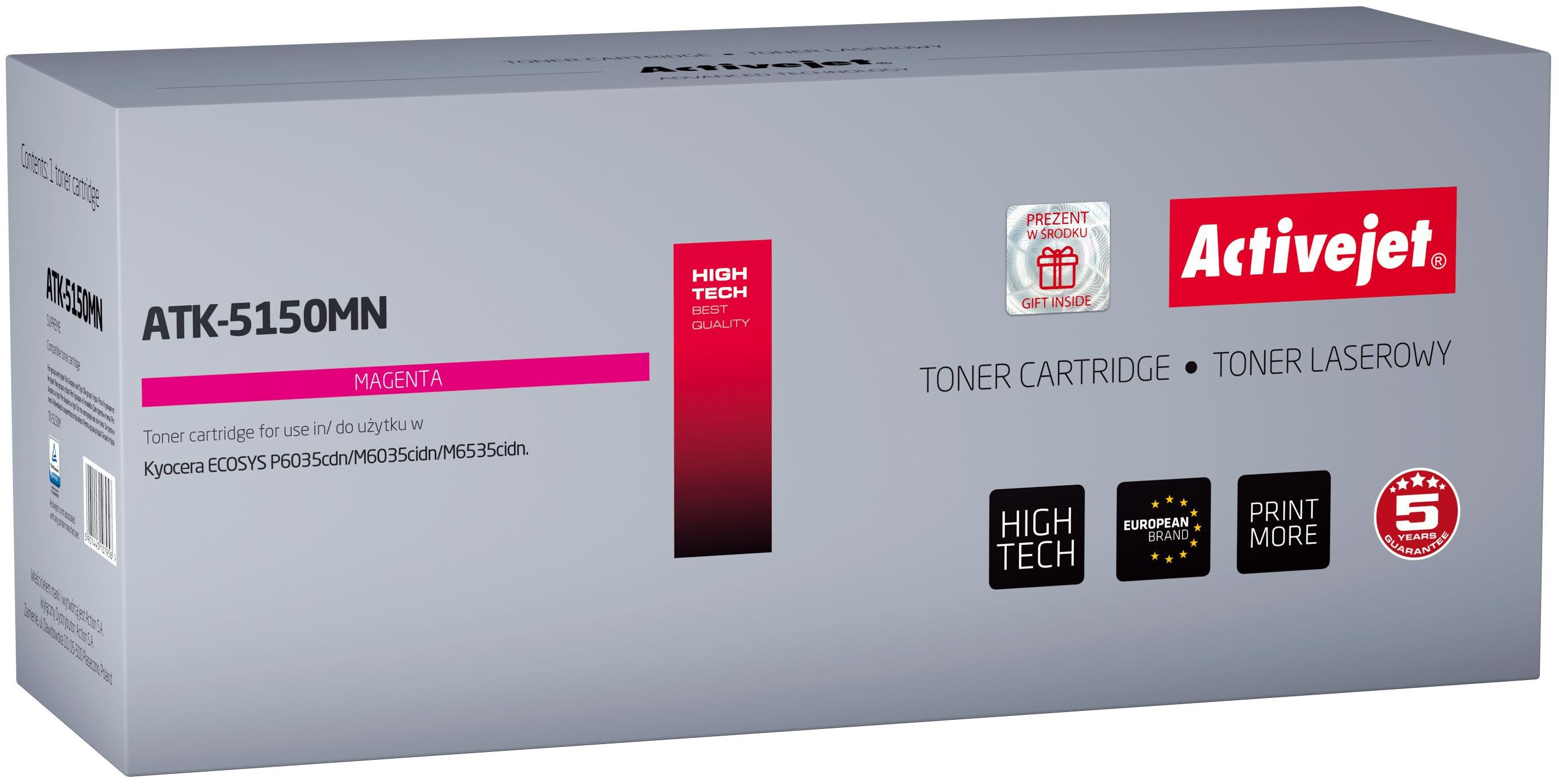 Toner Activejet ATK-5150MN (zamiennik Kyocera TK-5150M; Supreme; 10 000 stron; czerwony)