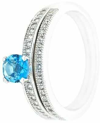 Srebrny pierścionek ps131bł z turkusową cyrkonią
