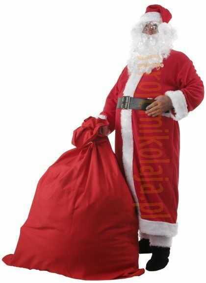 Strój płaszcz Mikołaja z polaru - komplet 10 elementów