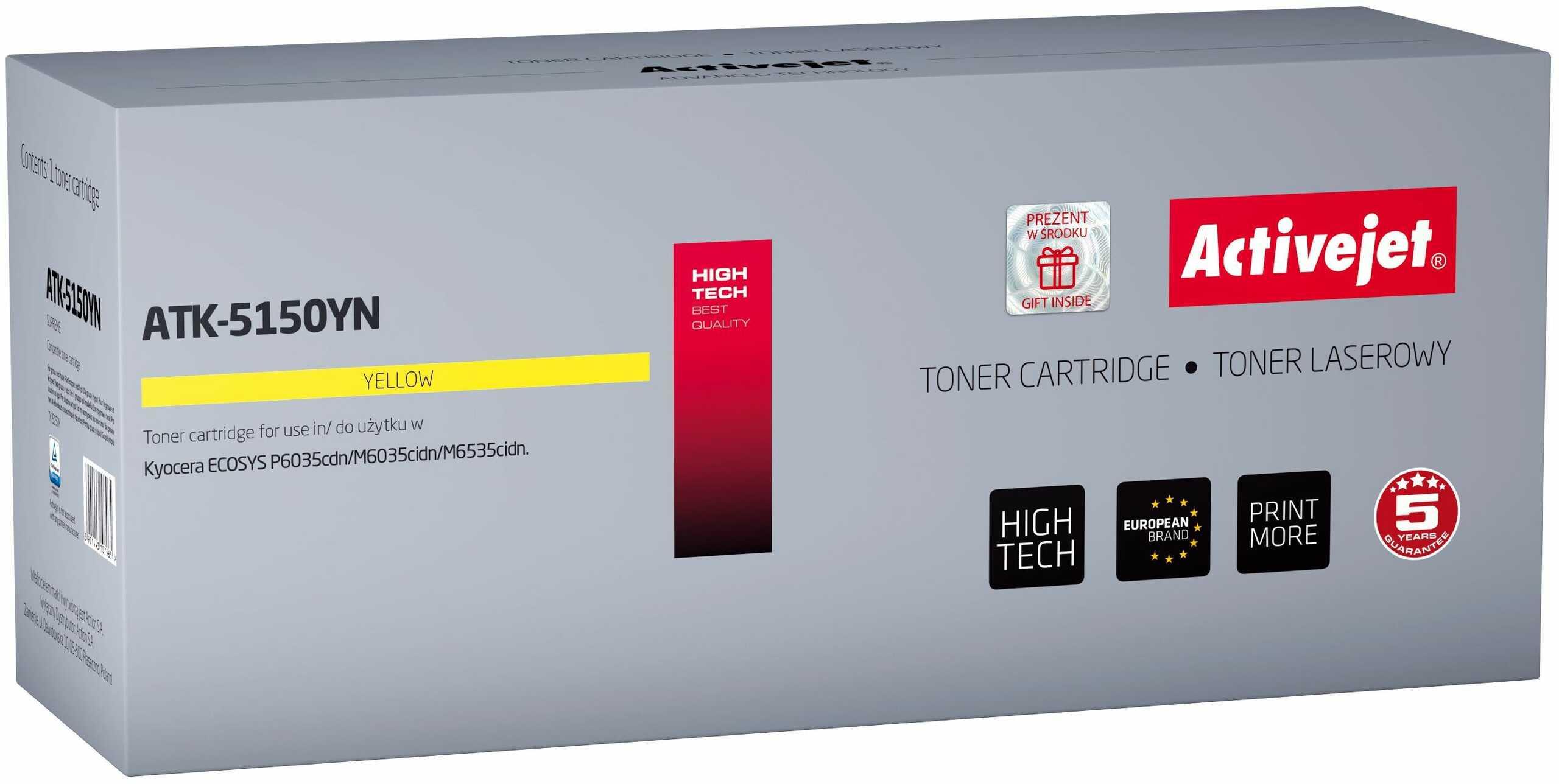 Toner Activejet ATK-5150YN (zamiennik Kyocera TK-5150Y; Supreme; 10 000 stron; żółty)
