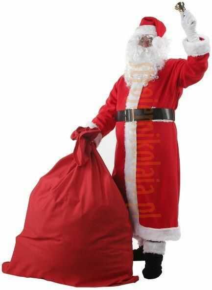 Strój płaszcz Mikołaja z polaru - komplet pełny 12 elementów i 4 dodatki