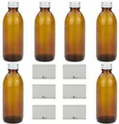 mikken 6 x butelka apteczna 200 ml szklana butelka brązowa + etykiety do opisywania
