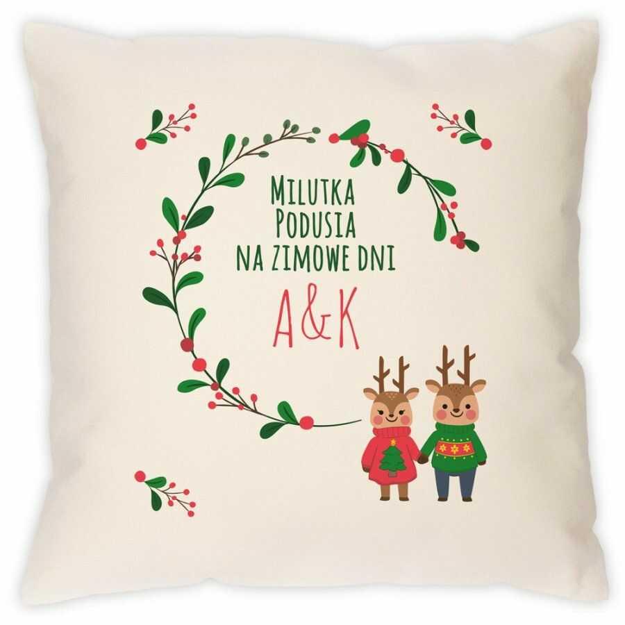 Poduszka personalizowana z nadrukiem Na Święta Renifery