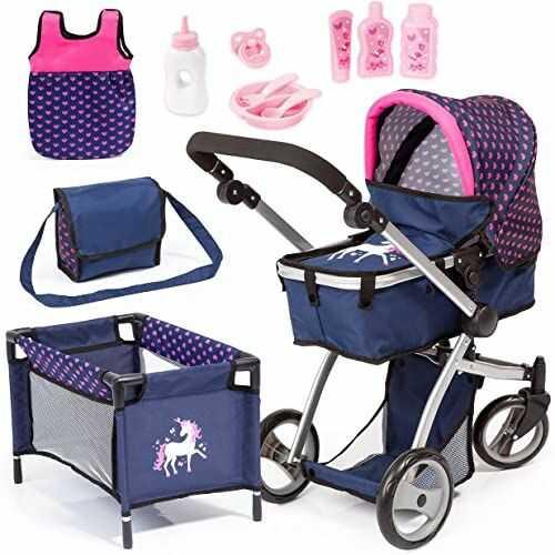 Bayer Design 18354AC ogromny wózek dziecięcy jogger, wózek dla lalek, regulacja wysokości, duży zestaw z wieloma akcesoriami, łóżko podróżne, torba na ramię i wiele więcej