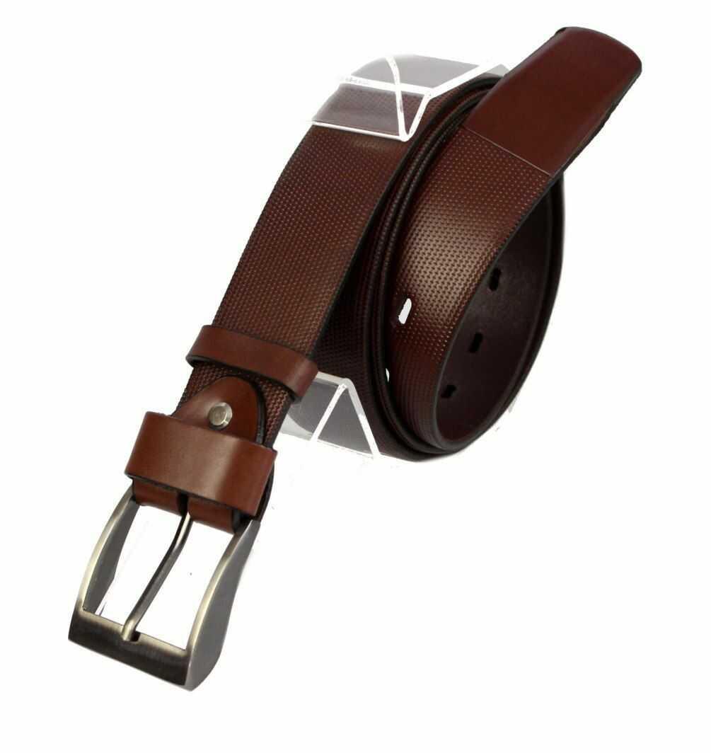 Pasek Skórzany COMPLEX (PL) Tłoczony Bieżnik Skóra Naturalna Licowa EXTRA 40 mm KASZTANOWY