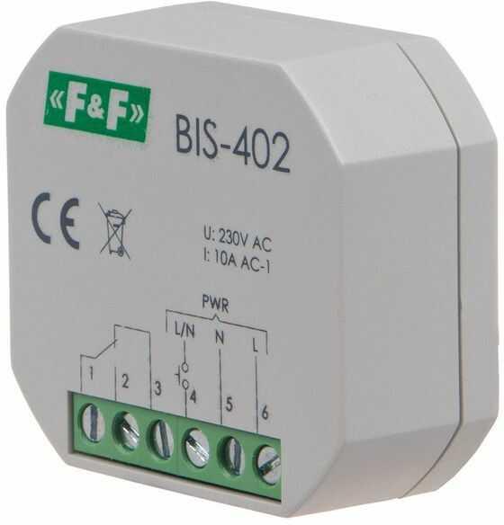 Przekaźnik impulsowy włącz-wyłącz podtynkowy 10A 230V AC 2Z BIS-402