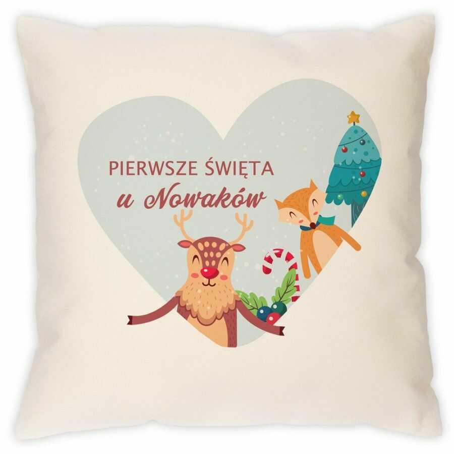 Poduszka personalizowana z nadrukiem Na Święta Pierwsze Świateczne Se