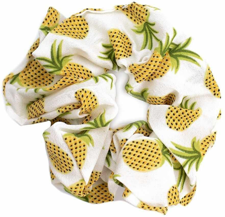 Gumka do włosów ananasy scrunchies kremowa frotka