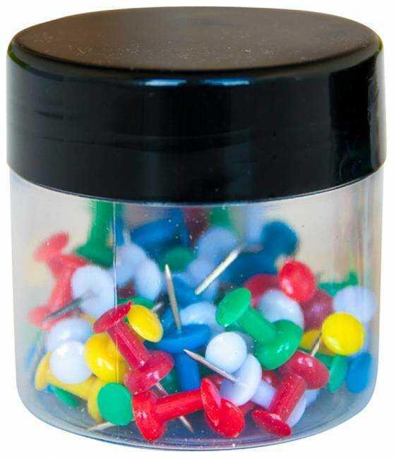 Pinezki beczułki Q-CONNECT mix kolorów 60 szt - X07414