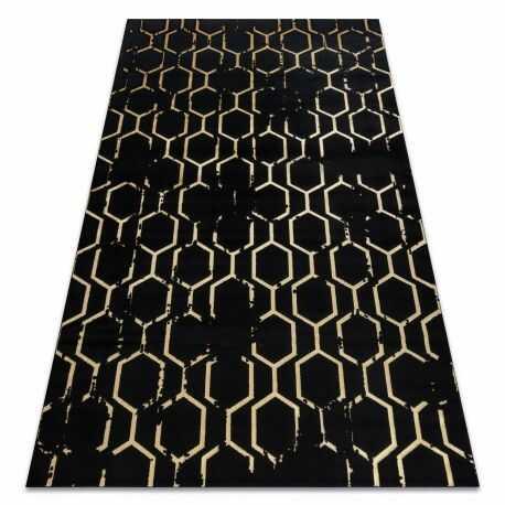 Dywan GLOSS nowoczesny 407C 86 stylowy, glamour, art deco czarny / złoty 80x150 cm