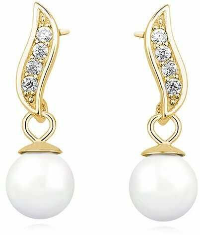 Delikatne pozłacane wiszące srebrne kolczyki perły perełki cyrkonie srebro 925 Z1113E_G