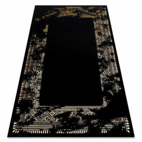 Dywan GLOSS nowoczesny 408C 86 Ramka stylowy, glamour, art deco czarny / złoty 80x150 cm