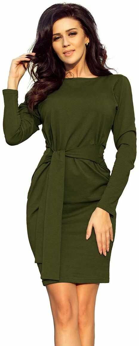 Dopasowana sukienka z wiązanym paskiem - khaki