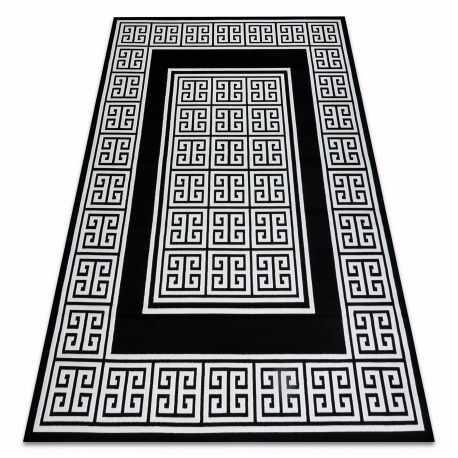 Dywan GLOSS nowoczesny 6776 85 stylowy, ramka, grecki klucz czarny / kość słoniowa 80x150 cm
