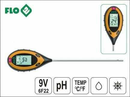 4-Funkcyjny Miernik Ogrodniczy FLO (do gleby) z Ekranem LCD.