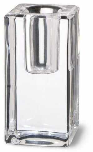 Świecznik szklany na świecę stołową wys. 8 cm transparentny