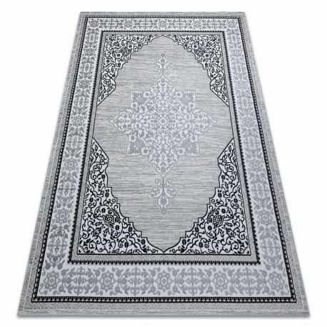 Dywan GLOSS nowoczesny 8490 52 Ornament, stylowy, ramka kość słoniowa / szary 80x150 cm