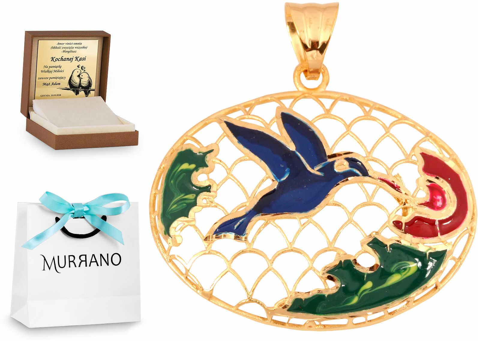 Złota zawieszka 585 fantazyjna ptak prezent