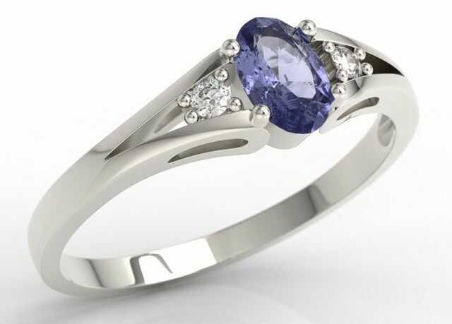 Pierścionek zaręczynowy z białego złota jp-22b z tanzanitem i diamentami 0,04 ct.