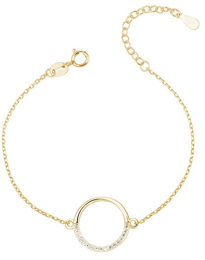 Pozłacana srebrna bransoletka szczęścia gwiazd celebrytka kółko circle ring cyrkonie srebro 925 Z1456B_G