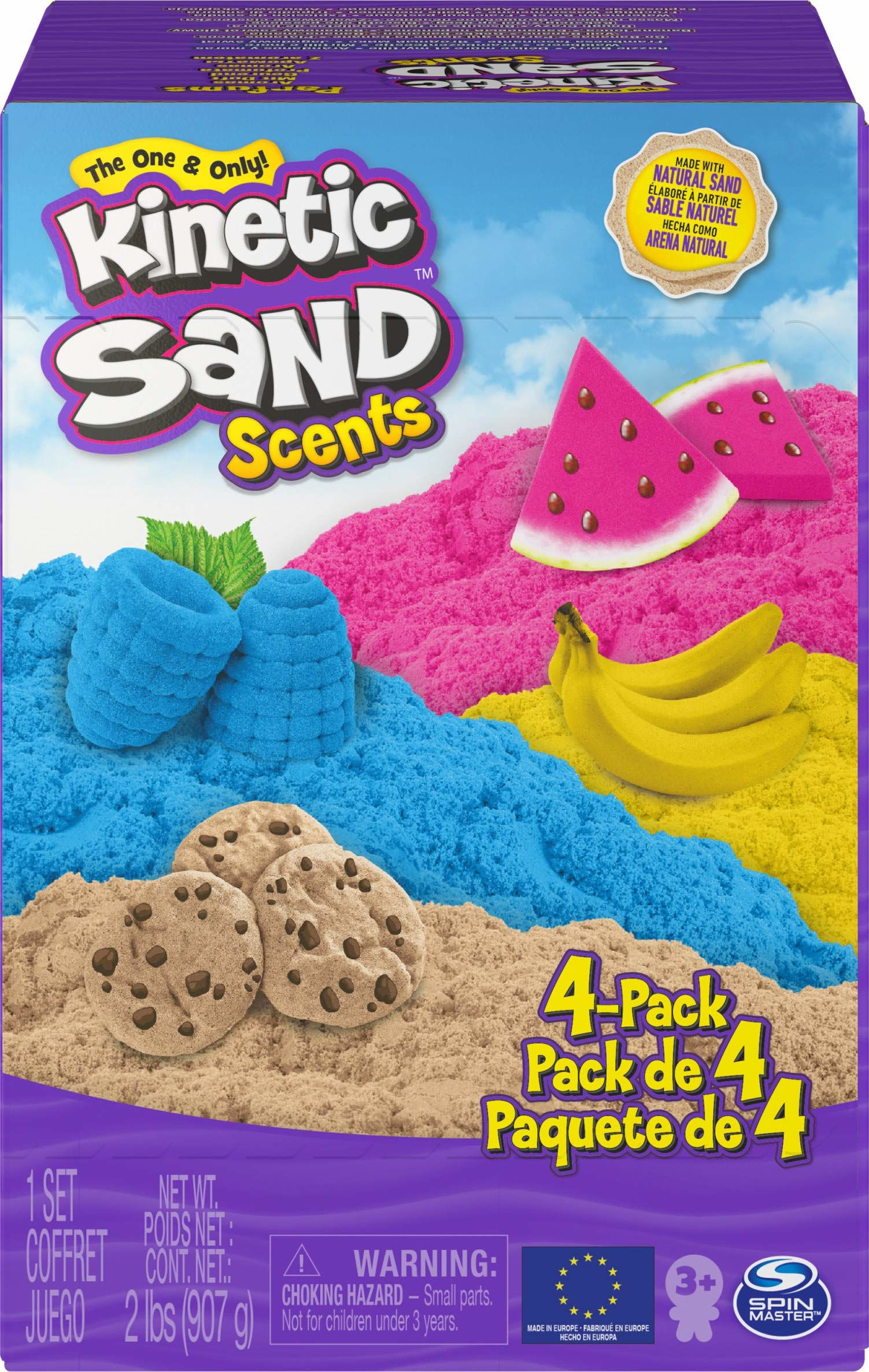 Kinetic Sand 6060010 - Smakowite Zapachy, Piasek Kinetyczny O Zapachu Ciasteczkowym, Bananowym, Arbuzowym I Jagodowym, 4-Pak