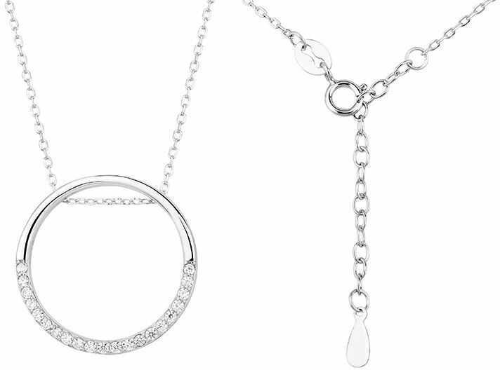 Rodowany srebrny naszyjnik gwiazd celebrytka kółko circle ring cyrkonie srebro 925 Z1456N