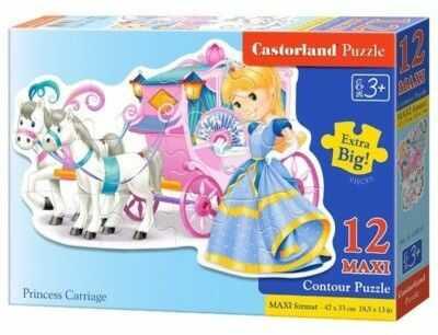 Puzzle Castor 12 Contur - Księżniczka z karetą, Princess Carriage