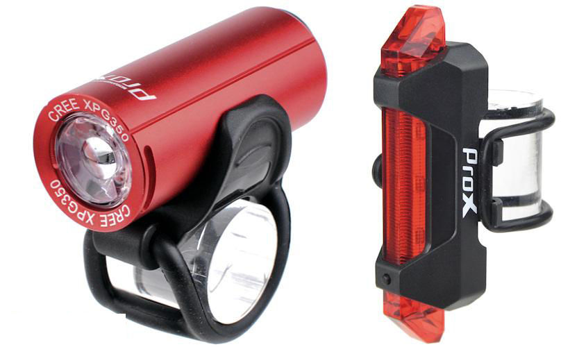 Zestaw lamp rowerowych ProX Pictor set red Cree 350+10Lm USB