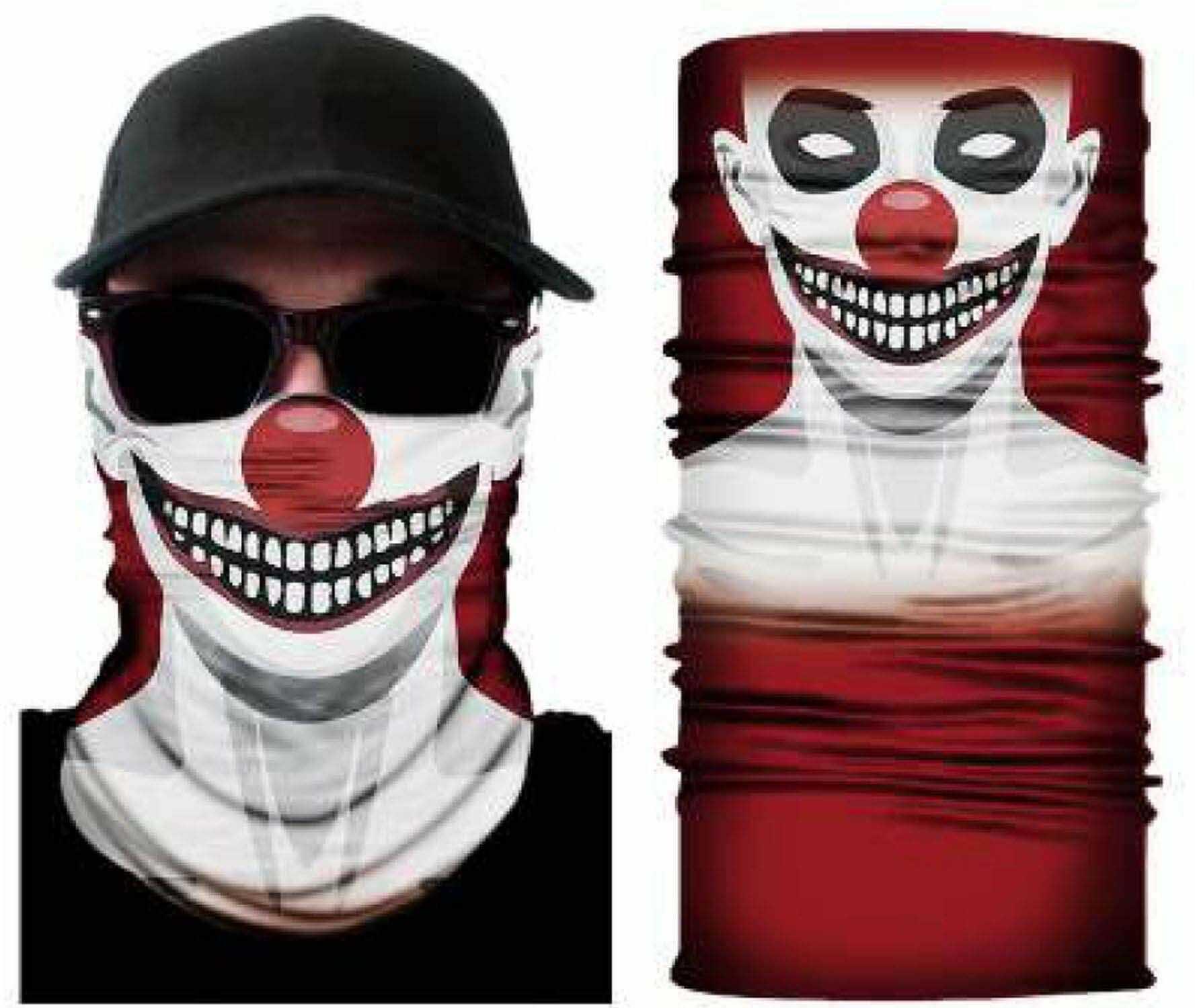 Zoelibat 97645441.521 - komin clown, chusta wielofunkcyjna, chusta na szyję, szal, motyw, ochrona ust, maska narciarska, maska motocyklowa, impreza tematyczna, karnawał, Halloween