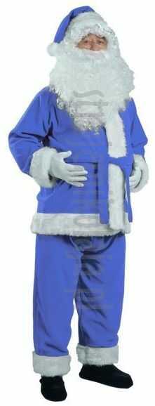 Niebieski strój Mikołaja - kurtka, spodnie i czapka
