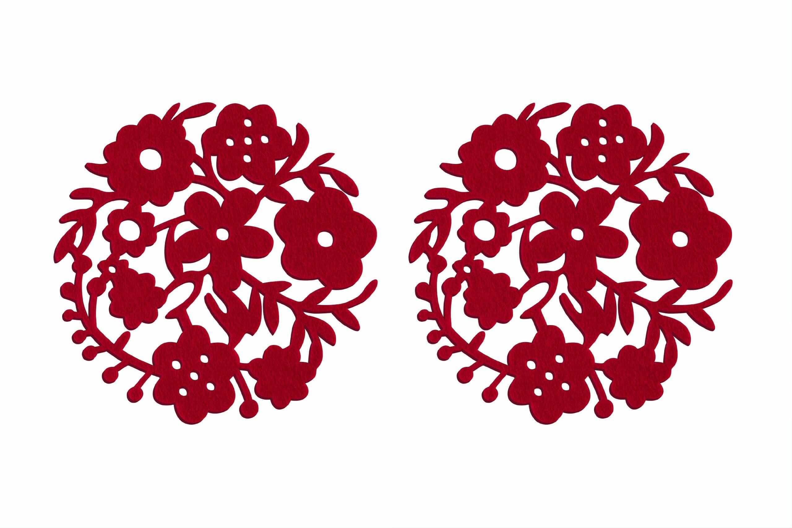 Premier Housewares Podkładki w kwiaty - zestaw 2, czerwone
