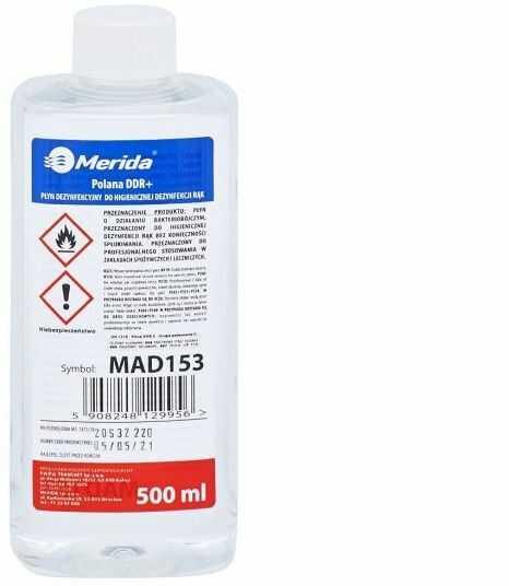 Płyn dezynfekcyjny Merida Polana DDR+ do higienicznej dezynfekcji rąk, butelka 500 ml