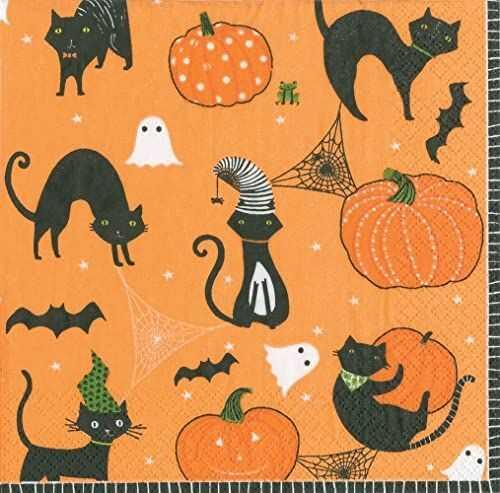 Caspari zabawne straszne koty pomarańczowa serwetka na lunch 20 sztuk, papier, 3 x 0,25 x 16,5 cm