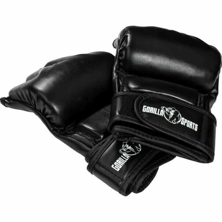 Uniwersalne rękawice treningowe MMA, czarne Gorilla Sports skóra syntetyczna