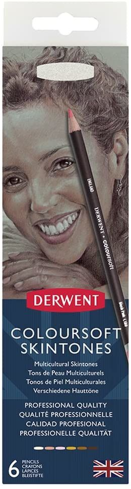 Derwent, 6 Cielistych Kredek do Kolorowania i Rysowania Derwent Coloursoft Skintones, Srebrne Pudełko (2300217)