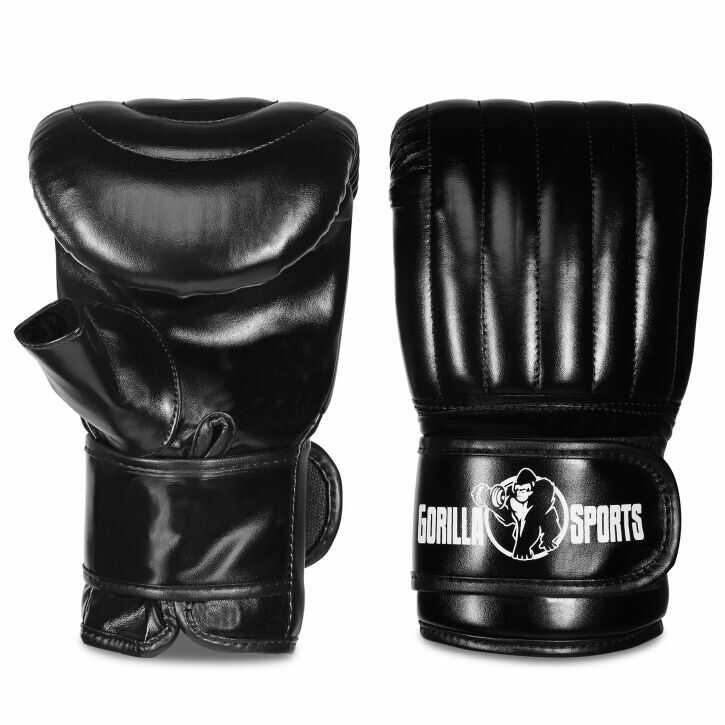 Rękawice bokserskie M bez kciuka czarne Gorilla Sports trening bokserski zapięcie na rzep
