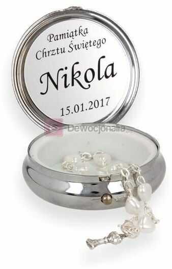 Różaniec 10tka w pudełku ze SREBRNYM wizerunkiem Anioła Stróża