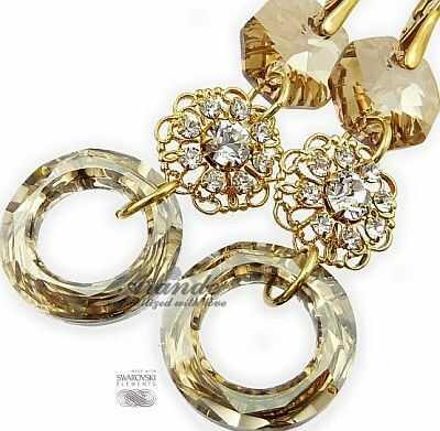 Nowe Swarovski Ozdobne Kolczyki Gold Ring Feel