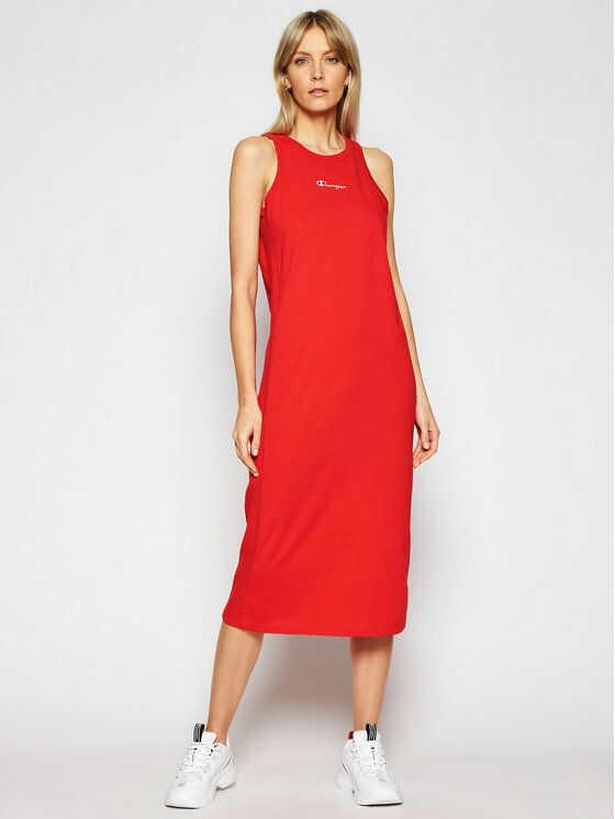 Sukienka codzienna Ribbed Insert Script Logo 112742 Czerwony Regular Fit