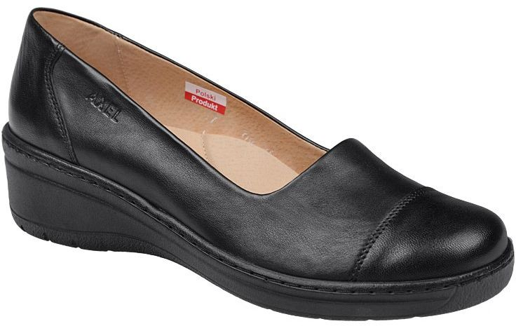 Półbuty AXEL Comfort 1601 Czarne Stretch buty na Haluksy na koturnie