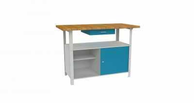 Metalowy stół warsztatowy roboczy z szufladami i szafką STW121
