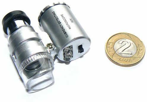 Kieszonkowy Mikroskop/Lupa (powiększenie 60x!!) + Podświetlenie + Ultrafiolet + Pokrowiec.