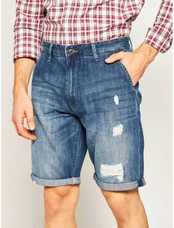 Pepe Jeans Szorty jeansowe Callen PM800771 Niebieski Relaxed Fit