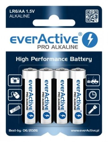 4 x baterie alkaliczne everActive Pro LR6 / AA (blister)