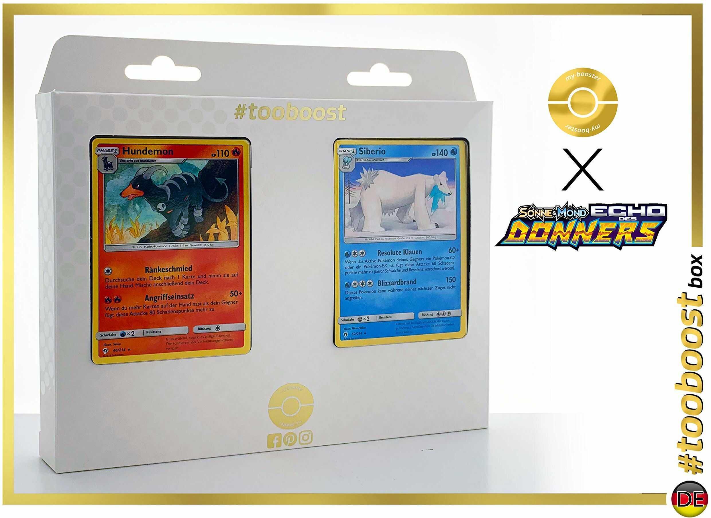 Hunmon 46/214 & Siberio 62/214  #tooboost X słońce i księżyc 8 echo Donnera  pudełko z 10 niemieckimi kartami Pokémon + 1 Goodie Pokémon.