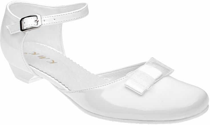 Pantofelki buty komunijne dla dziewczynki KMK 204 Białe Lakierki - Biały