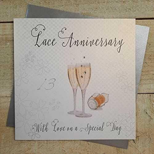 Białe bawełniane kartki koronka ''Love On Your Special Day'' ręcznie robiona kartka z 13 rocznicą, WA13