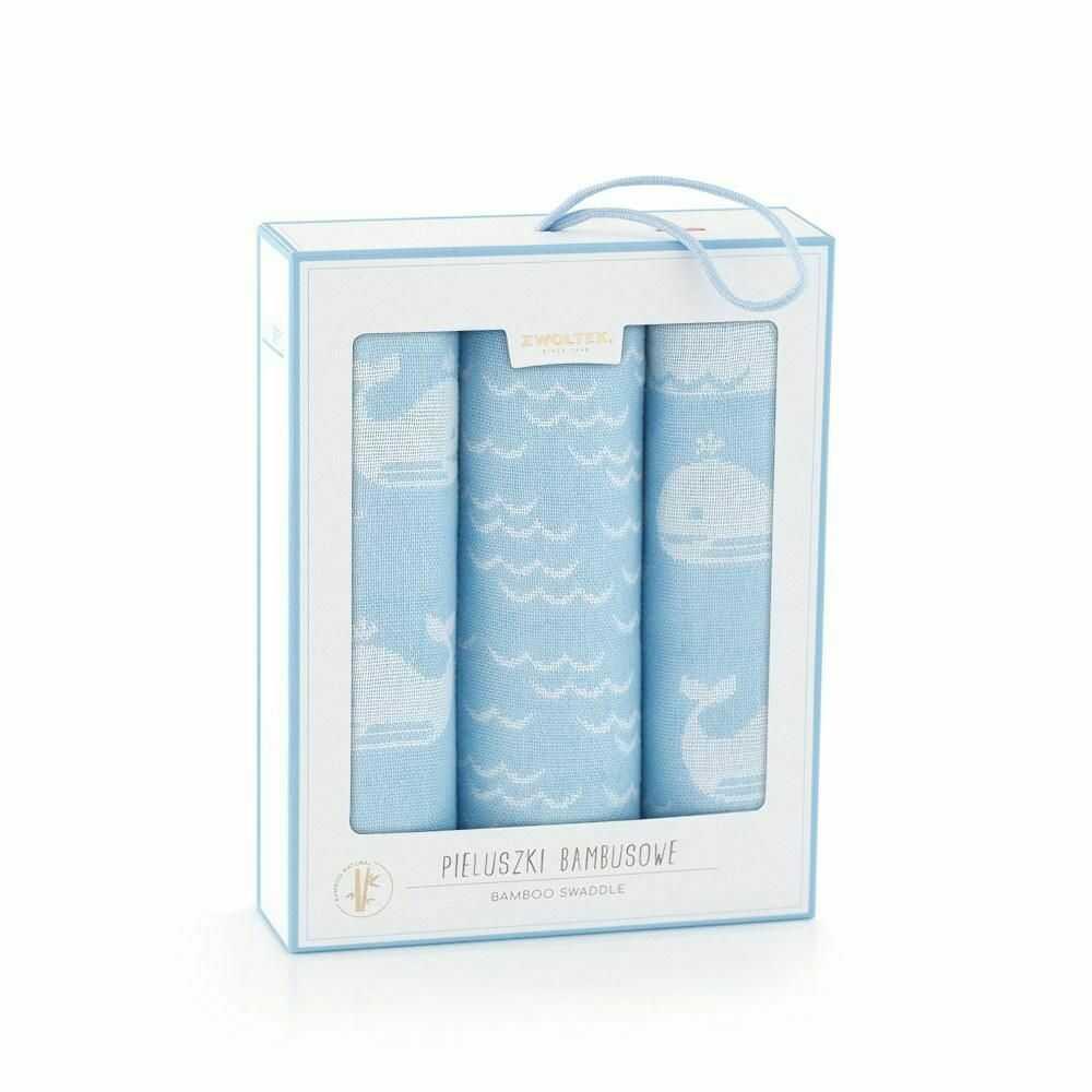 Komplet pieluch bambusowych 70x70 3szt Wielorybki ryby niebieski 8536x2+ 8537 pieluchy bambusowe