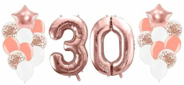 Balony na 30 urodziny różowe złoto 22 sztuki A15