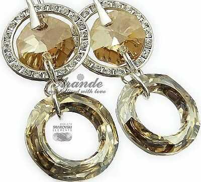 Nowe Swarovski Ozdobne Kolczyki Gold Ring Pomme